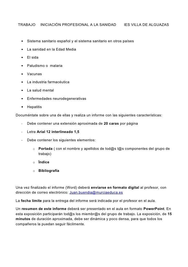 TRABAJO          INICIACIÓN PROFESIONAL A LA SANIDAD            IES VILLA DE ALGUAZAS   •   Sistema sanitario español y el...