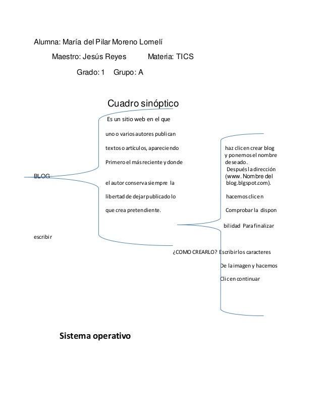 Alumna: María del Pilar Moreno Lomelí  Maestro: Jesús Reyes Materia: TICS  Grado: 1 Grupo: A  Cuadro sinóptico  Es un siti...