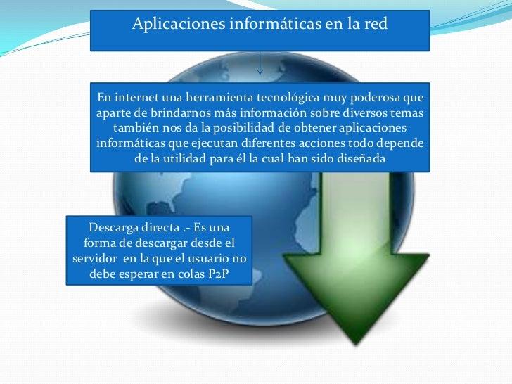 Aplicaciones informáticas en la red    En internet una herramienta tecnológica muy poderosa que    aparte de brindarnos má...