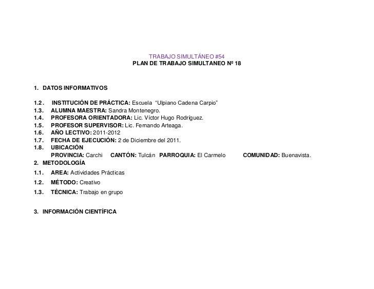 TRABAJO SIMULTÁNEO #54                                      PLAN DE TRABAJO SIMULTANEO Nº 181. DATOS INFORMATIVOS1.2 .INST...