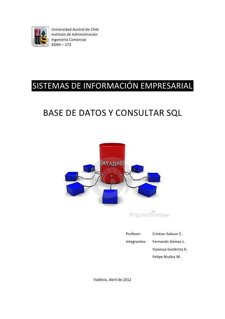Universidad Austral de Chile    Instituto de Administración    Ingeniería Comercial    ADMI – 273SISTEMAS DE INFORMACIÓN E...