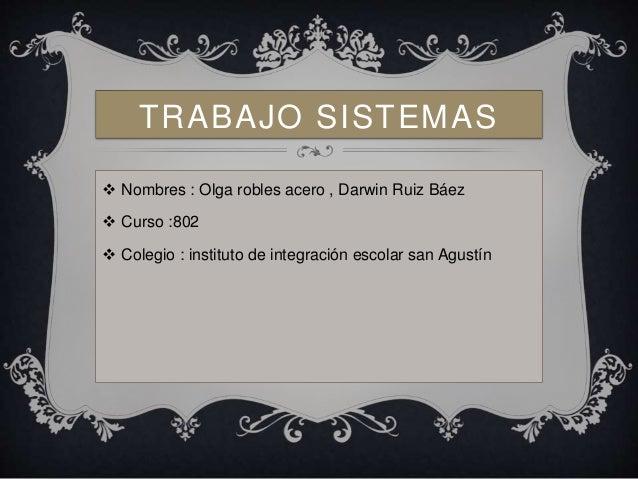 TRABAJO SISTEMAS   Nombres : Olga robles acero , Darwin Ruiz Báez   Curso :802   Colegio : instituto de integración esc...