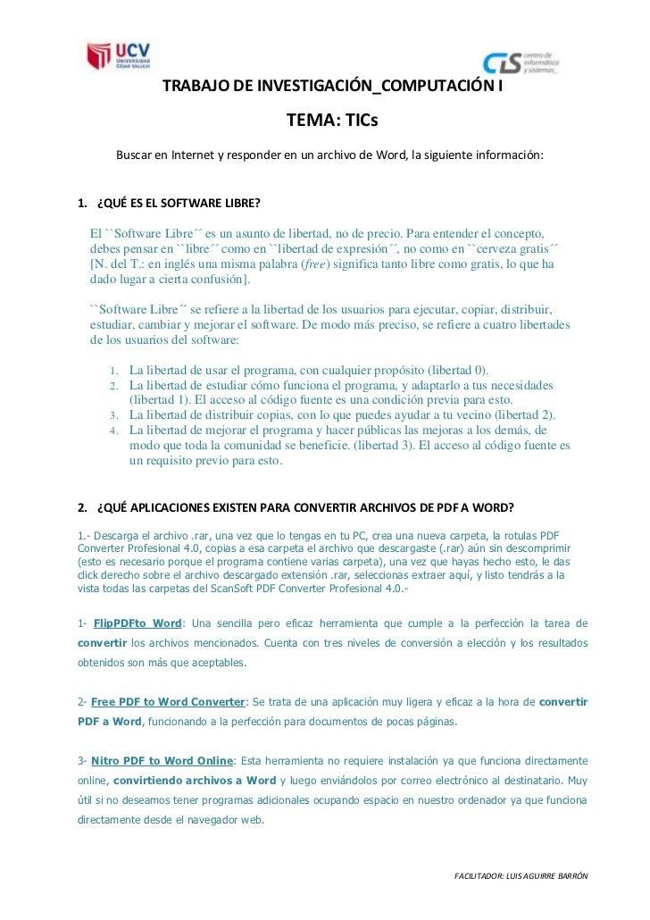 TRABAJO DE INVESTIGACIÓN_COMPUTACIÓN I                                            TEMA: TICs        Buscar en Internet y r...