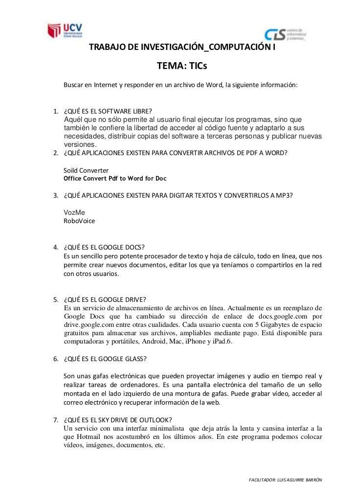 TRABAJO DE INVESTIGACIÓN_COMPUTACIÓN I                                   TEMA: TICs   Buscar en Internet y responder en un...