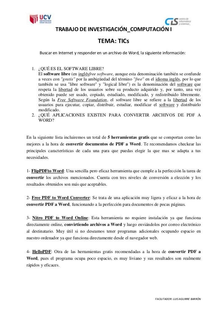 TRABAJO DE INVESTIGACIÓN_COMPUTACIÓN I                                       TEMA: TICs       Buscar en Internet y respond...