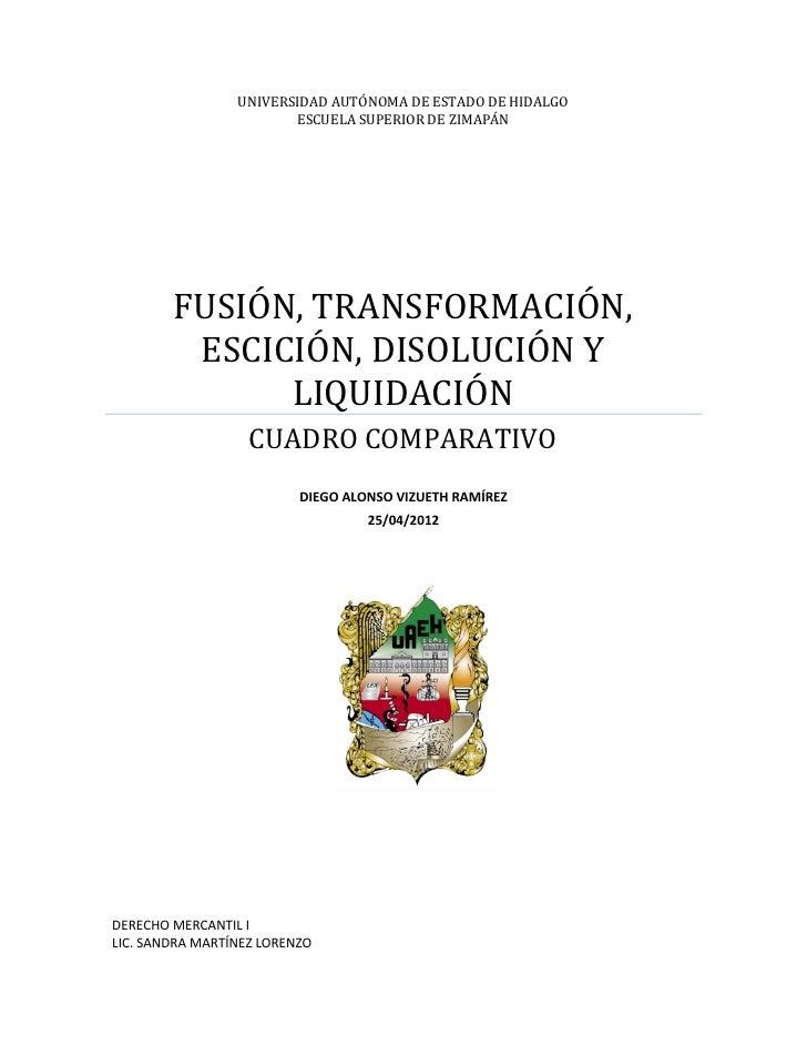 UNIVERSIDAD AUTÓNOMA DE ESTADO DE HIDALGO                        ESCUELA SUPERIOR DE ZIMAPÁN        FUSIÓN, TRANSFORMACIÓN...