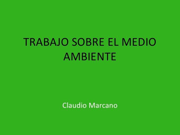 TRABAJO SOBRE EL MEDIO AMBIENTE<br />Claudio Marcano<br />