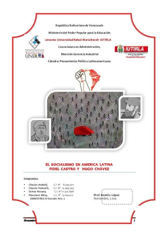Pensamiento PolíticoLatinoamericano 1 República Bolivariana de Venezuela Ministerio del Poder Popular para la Educación Co...
