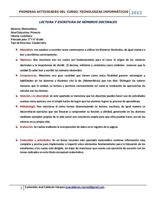 PRIMERAS ACTIVIDADES DEL CURSO: TECNOLOGÍAS INFORMÁTICAS                                                                  ...