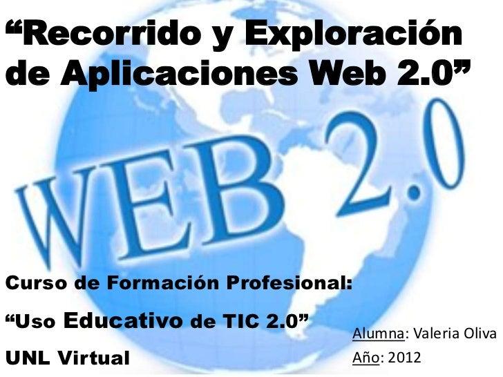 """""""Recorrido y Exploraciónde Aplicaciones Web 2.0""""Curso de Formación Profesional:""""Uso Educativo de TIC 2.0""""                 ..."""
