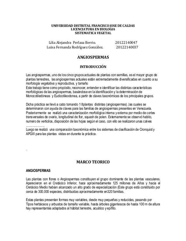 UNIVERSIDAD DISTRITAL FRANCISCO JOSE DE CALDAS LICENCIATURA EN BIOLOGIA SISTEMATICA VEGETAL Lilia Alejandra Perlaza Berrio...
