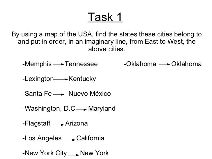 Task 1 By using a map of the USA, find the states these cities belong to and put in order, in an imaginary line, from East...