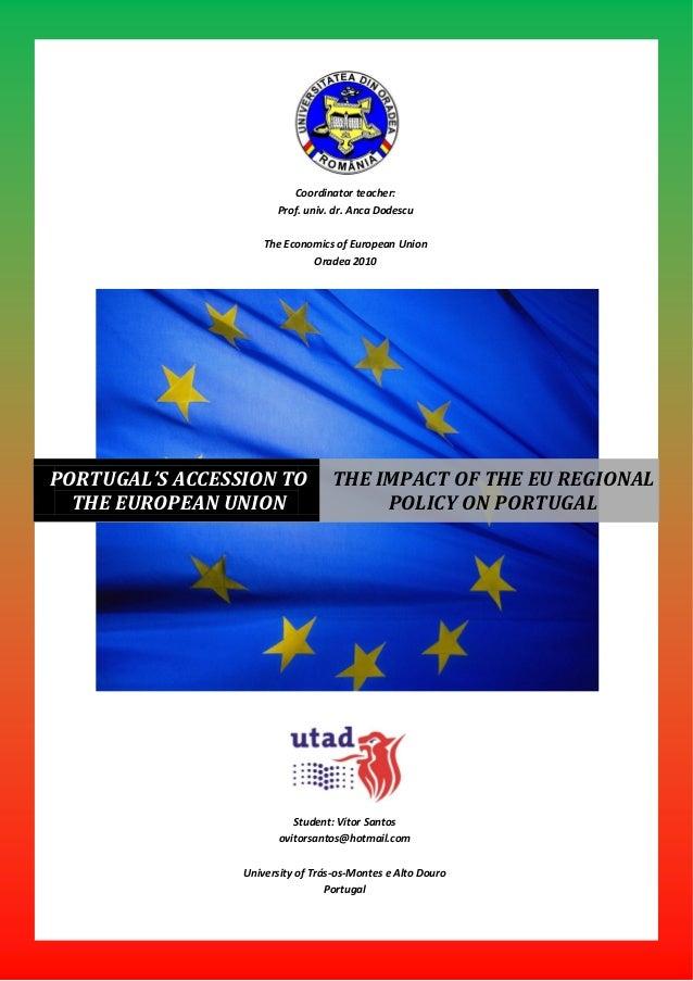 Coordinator teacher:                       Prof. univ. dr. Anca Dodescu                     The Economics of European Unio...