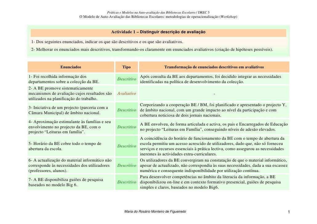 Práticas e Modelos na Auto-avaliação das Bibliotecas Escolares / DREC 5                             O Modelo de Auto-Avali...