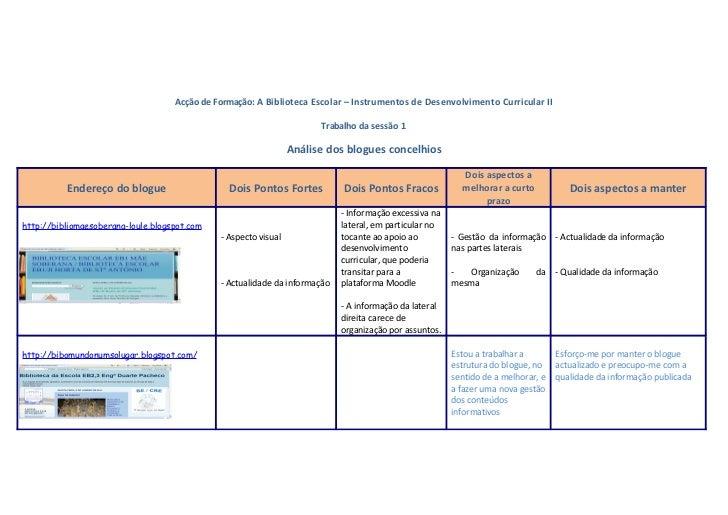 Acção de Formação: A Biblioteca Escolar – Instrumentos de Desenvolvimento Curricular II                                   ...