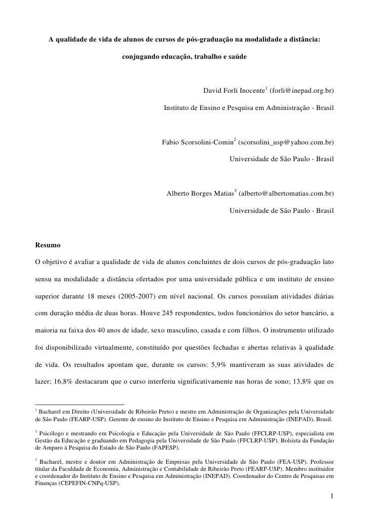 A qualidade de vida de alunos de cursos de pós-graduação na modalidade a distância:                                  conju...