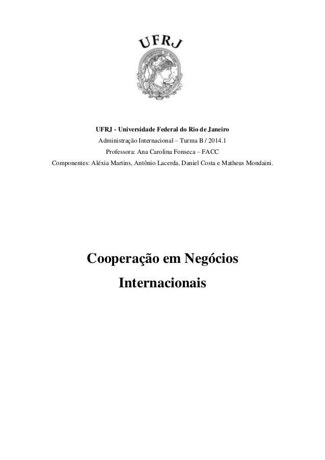 UFRJ - Universidade Federal do Rio de Janeiro Administração Internacional – Turma B / 2014.1 Professora: Ana Carolina Fons...