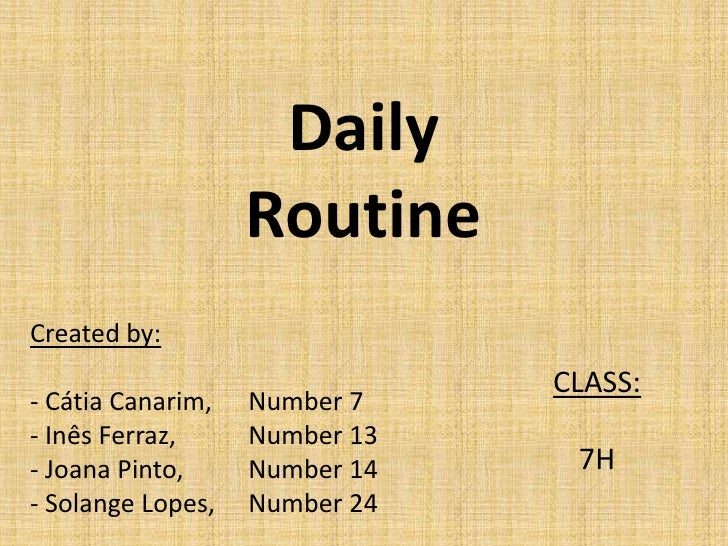 Daily routine (Present Simple)