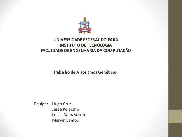 UNIVERSIDADE FEDERAL DO PARÁ INSTITUTO DE TECNOLOGIA FACULDADE DE ENGENHARIA DA COMPUTAÇÃO Trabalho de Algoritmos Genético...