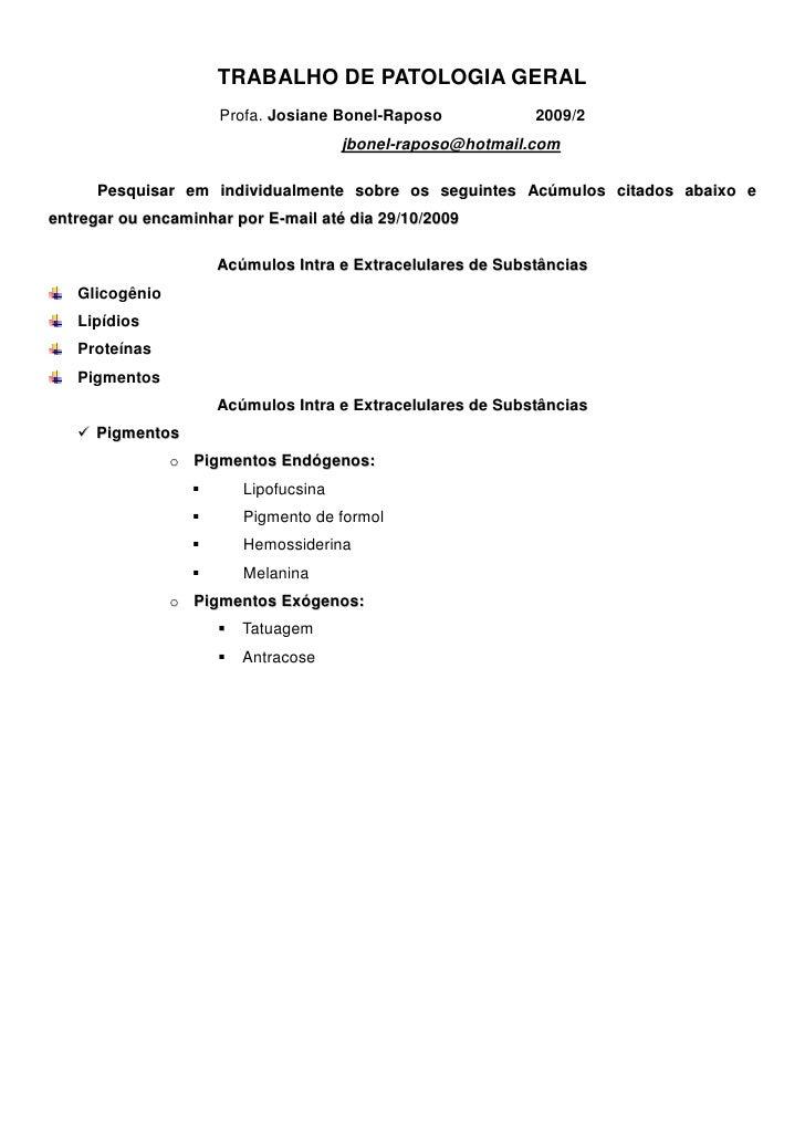 Trabalho de Patologia Geral 2009 2