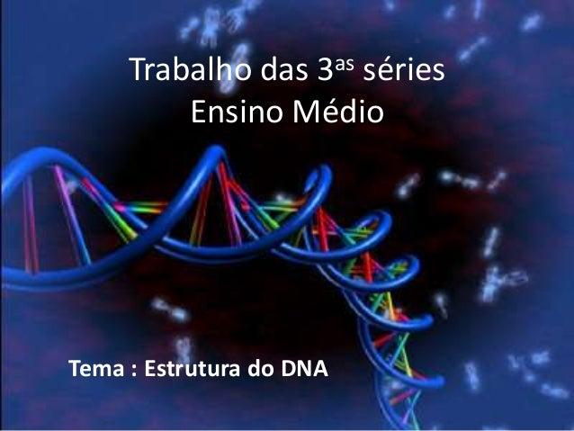 Trabalho das 3as sériesEnsino MédioTema : Estrutura do DNA