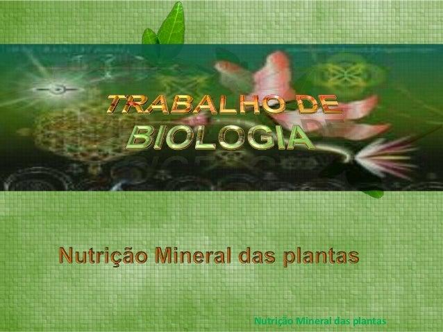 nutriçao mineral das plantas-Trabalho de biologia