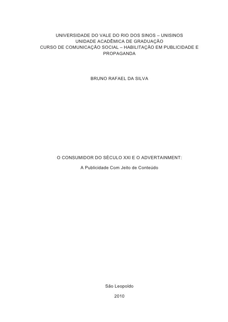 TCC - O CONSUMIDOR DO SÉCULO XXI E O ADVERTAINMENT - Bruno Rafael da Silva