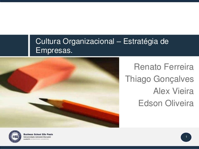 1 Renato Ferreira Thiago Gonçalves Alex Vieira Edson Oliveira Cultura Organizacional – Estratégia de Empresas.
