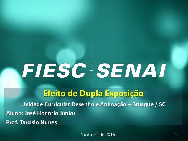 Efeito de Dupla Exposição Unidade Curricular Desenho e Animação – Brusque / SC Aluno: José Honório Júnior Prof. Tarcísio N...