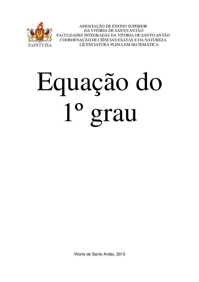 ASSOCIAÇÃO DE ENSINO SUPERIORDA VITÓRIA DE SANTO ANTÃOFACULDADES INTEGRADAS DA VITÓRIA DE SANTO ANTÃOCOORDENAÇÃO DE CIÊNCI...