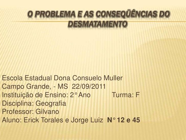 O Problema e as Conseqüências do Desmatamento  <br />Escola Estadual Dona Consuelo Muller<br />Campo Grande, - MS  22/09/2...