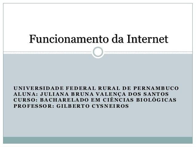 Funcionamento da InternetUNIVERSIDADE FEDERAL RURAL DE PERNAMBUCOALUNA: JULIANA BRUNA VALENÇA DOS SANTOSCURSO: BACHARELADO...