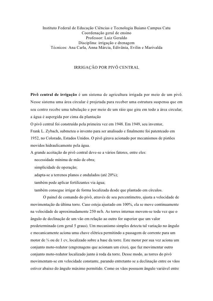 Instituto Federal de Educação Ciências e Tecnologia Baiano Campus Catu                               Coordenação geral de ...