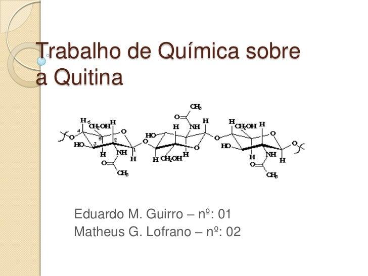 Trabalho de Química sobrea Quitina   Eduardo M. Guirro – nº: 01   Matheus G. Lofrano – nº: 02