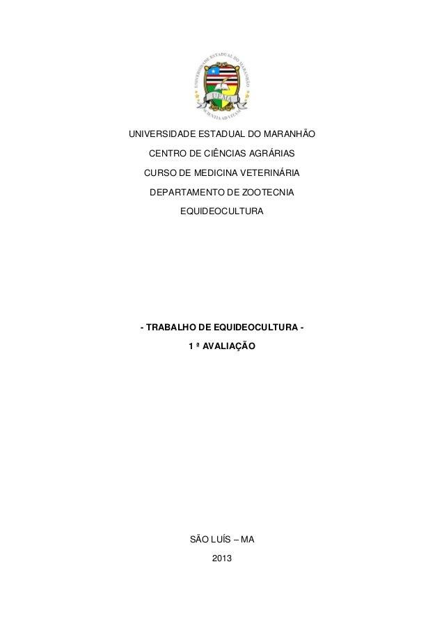 UNIVERSIDADE ESTADUAL DO MARANHÃO CENTRO DE CIÊNCIAS AGRÁRIAS CURSO DE MEDICINA VETERINÁRIA DEPARTAMENTO DE ZOOTECNIA EQUI...