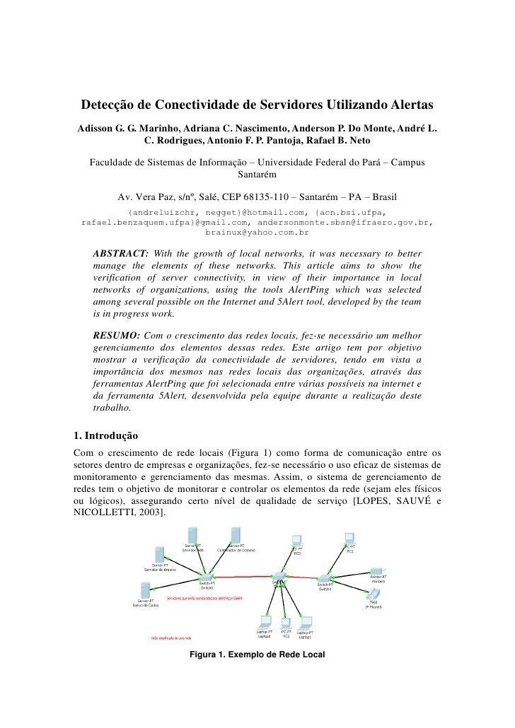 Detecção de Conectividade de Servidores Utilizando Alertas Adisson G. G. Marinho, Adriana C. Nascimento, Anderson P. Do Mo...