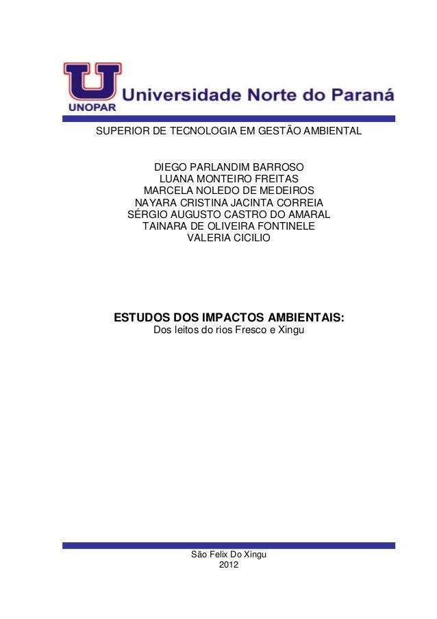 SUPERIOR DE TECNOLOGIA EM GESTÃO AMBIENTAL         DIEGO PARLANDIM BARROSO          LUANA MONTEIRO FREITAS       MARCELA N...