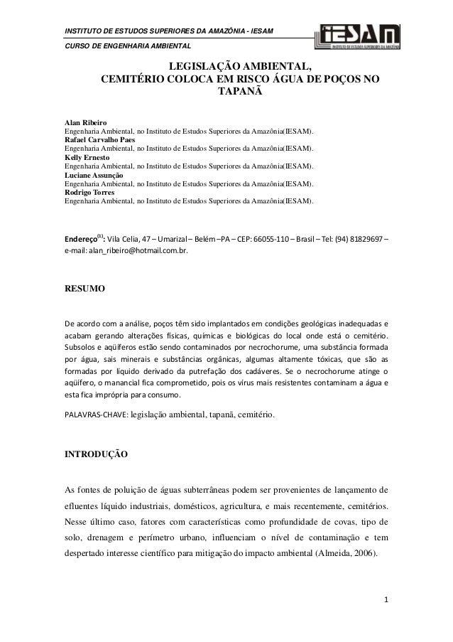 INSTITUTO DE ESTUDOS SUPERIORES DA AMAZÔNIA - IESAM CURSO DE ENGENHARIA AMBIENTAL  LEGISLAÇÃO AMBIENTAL, CEMITÉRIO COLOCA ...