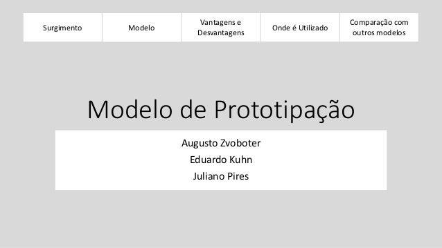 Surgimento  Modelos  Evolucionários  Vantagens e  Desvantagens  Onde é Utilizado  Comparação com  outros modelos  Modelo d...