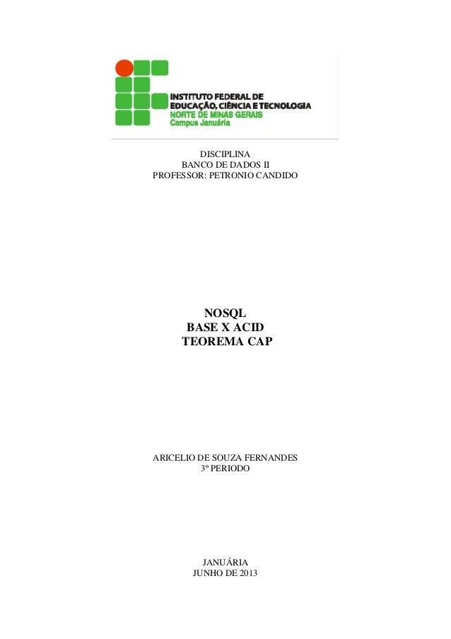 Sistemas NoSQL, surgimento, características e exemplos