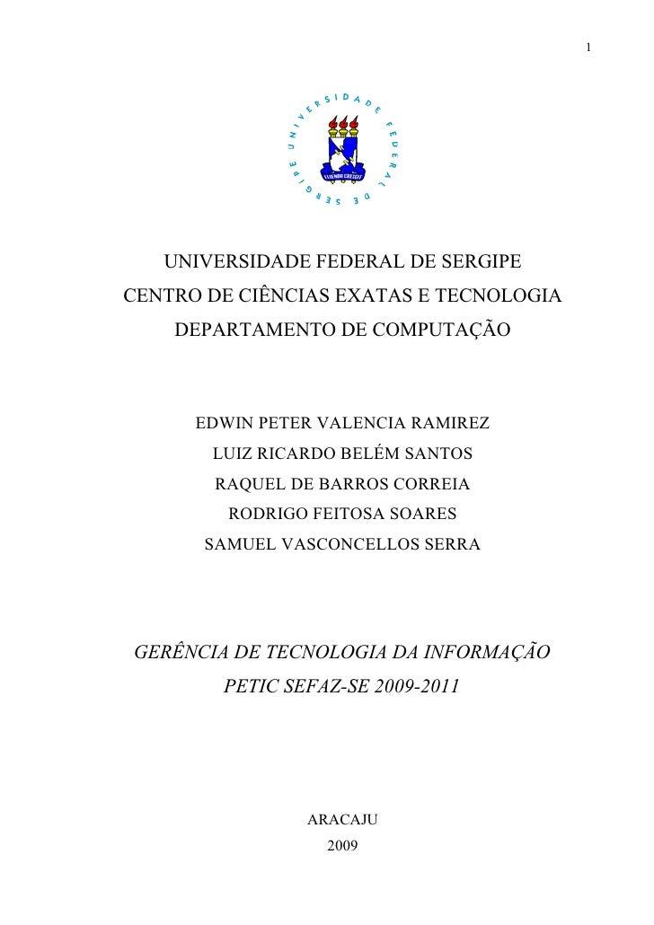 PETIC GERTEC SEFAZ-SE 2009-2011