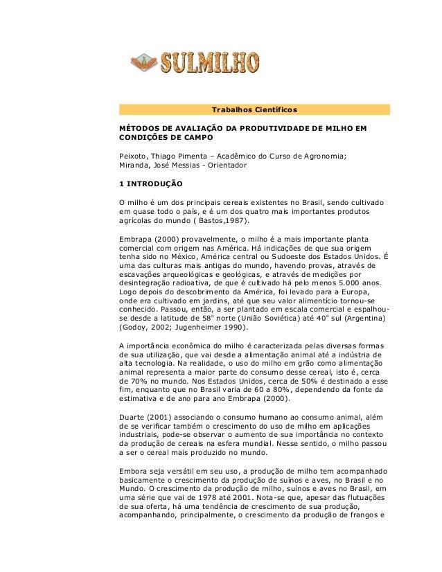 Trabalhos Científicos MÉTODOS DE AVALIAÇÃO DA PRODUTIVIDADE DE MILHO EM CONDIÇÕES DE CAMPO Peixoto, Thiago Pimenta – Acadê...