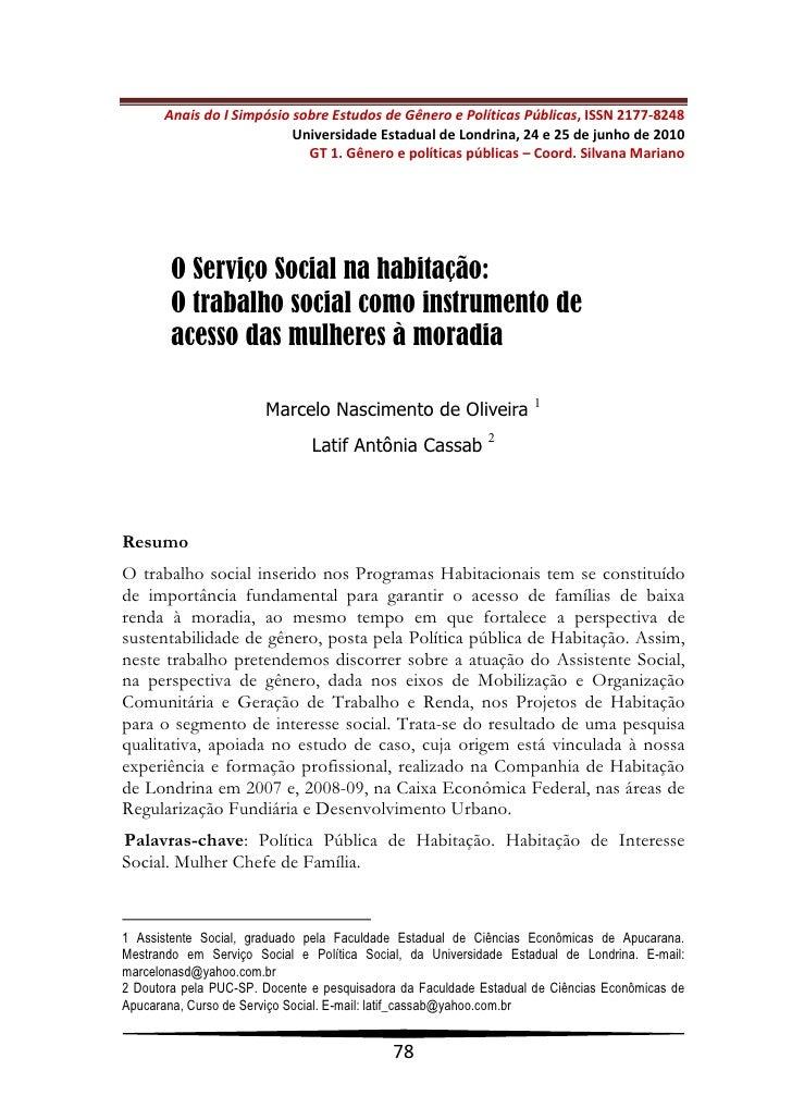 Anais do I Simpósio sobre Estudos de Gênero e Políticas Públicas, ISSN 2177-8248                           Universidade Es...
