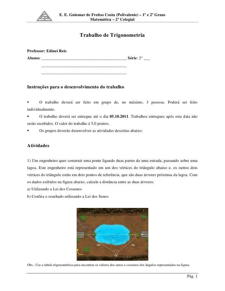 E. E. Guiomar de Freitas Costa (Polivalente) – 1º e 2º Graus                                       Matemática – 2º Colegia...