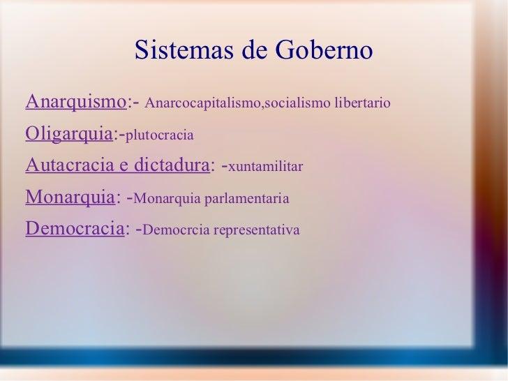 Sistemas de Goberno <ul><li>Anarquismo :-  Anarcocapitalismo,socialismo libertario </li></ul><ul><li>Oligarquia :- plutocr...