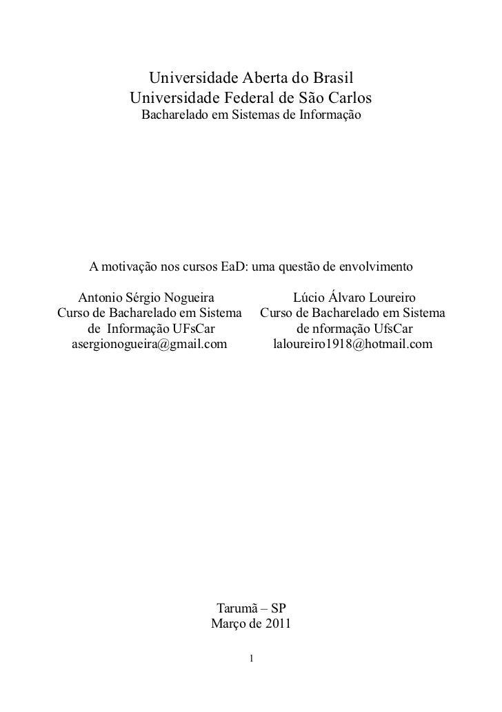 Universidade Aberta do Brasil            Universidade Federal de São Carlos              Bacharelado em Sistemas de Inform...