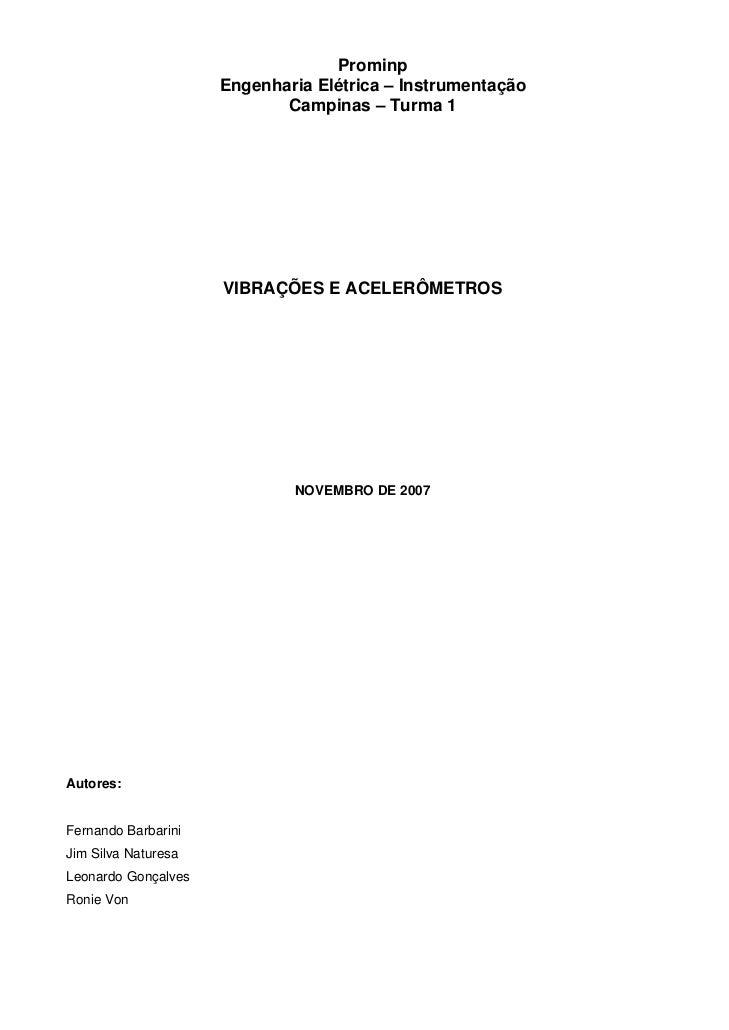 Prominp                      Engenharia Elétrica – Instrumentação                             Campinas – Turma 1          ...