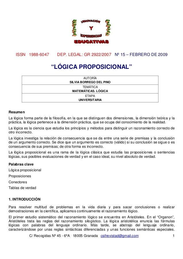 """ISSN 1988-6047            DEP. LEGAL: GR 2922/2007 Nº 15 – FEBRERO DE 2009                          """"LÓGICA PROPOSICIONAL""""..."""