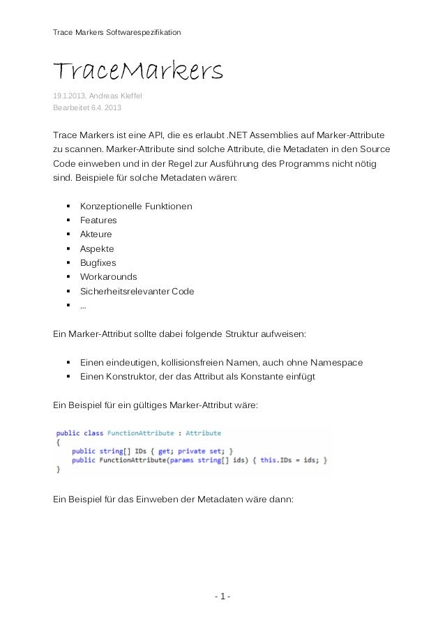 Trace Markers Softwarespezifikation  TraceMarkers 19.1.2013, Andreas Kleffel Bearbeitet 6.4. 2013  Trace Markers ist eine ...