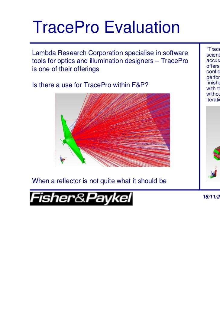"""TracePro Evaluation                                                          """"TracePro, renowned in theLambda Research Cor..."""